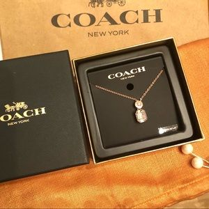Coach Jewelry - 💝Coach Necklace Rose Gold Color w Crystal & Box